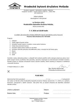 Členská schůze 07.04.2016 - Hradecké bytové družstvo Hvězda