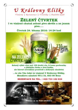 Zelené pivo - U KRÁLOVNY ELIŠKY, as
