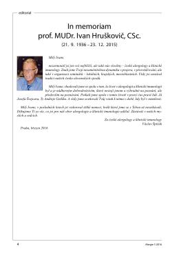 In memoriam prof. MUDr. Ivan Hruškovič, CSc.