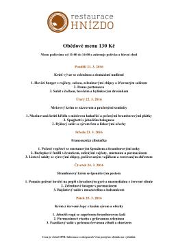 Obědové menu 130 Kč - BRuNO family park