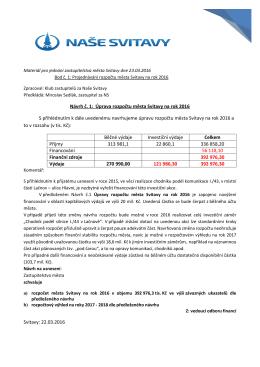 Návrh č. 1: Úprava rozpočtu města Svitavy na rok