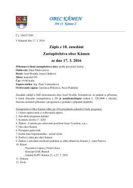 Zápis z 18. zasedání Zastupitelstva obce Kámen ze