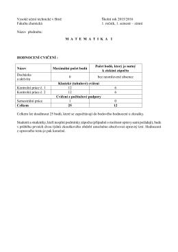 hodnocení - Fakulta chemická - Vysoké učení technické v Brně