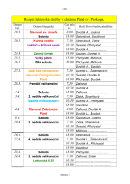 Rozpis lektorské služby v chrámu Páně sv. Prokopa.