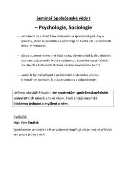 Psychologie, Sociologie