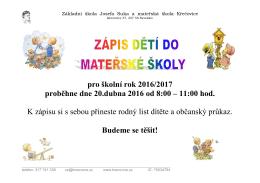 Více informací zde - Základní škola Josefa Suka a MŠ Křečovice