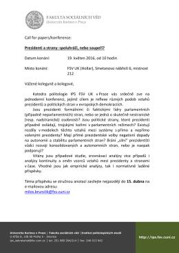 Call for papers - Fakulta sociálních věd