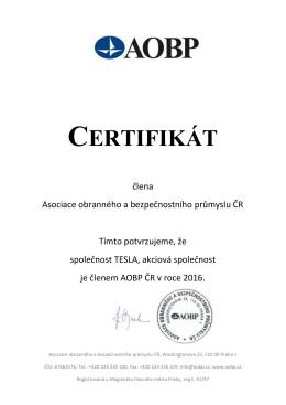 certifikát - TESLA a.s.