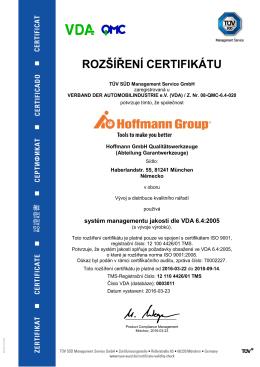 rozšíření certifikátu