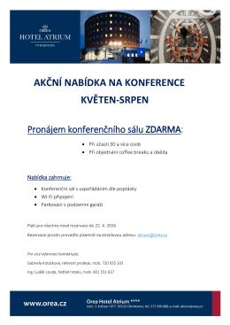 akční nabídka na konference květen-srpen - Orea