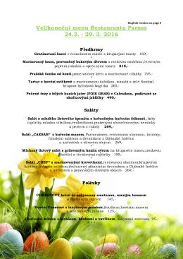 Velikonoční menu Restaurantu Parnas 24.3.