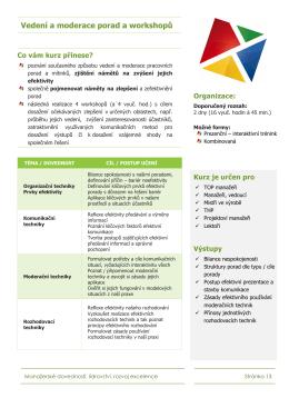 Vedení a moderace porad a workshopů