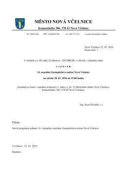 14. zasedání Zastupitelstva města Nová Včelnice