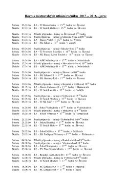Rozpis mistrovských utkání ročníku 2015 – 2016
