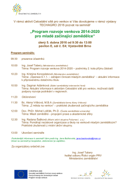 Pozvánka na seminář v rámci veletrhu Techagro