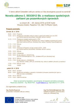 Novela zákona č. 503/2012 Sb. a realizace společných zařízení po