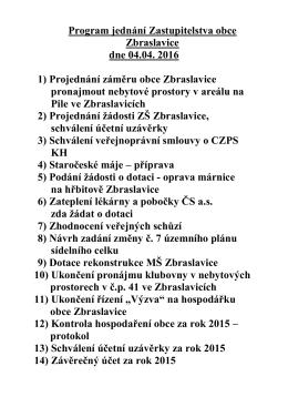Program jednání Zastupitelstva obce Zbraslavice