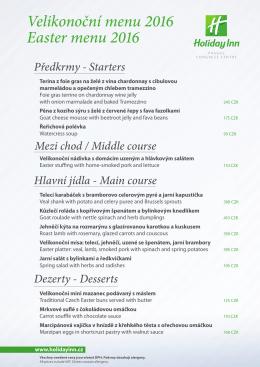 Velikonoční menu 2016 Easter menu 2016