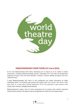 Orędzie na Międzynarodowy Dzień Teatru - E