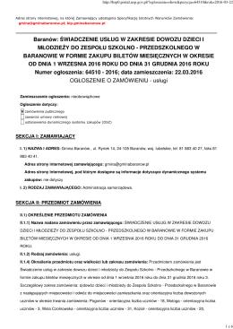 Ogłoszenie o zamówieniu - usługi (Nr 64510