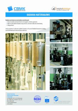 Badania materiałowe - CBMK — Centrum Badań Materiałów i