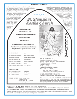 Bulletin - Friends of St. Stanislaus