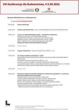 VIII Konferencja dla Budownictwa – program