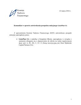 Komunikat w sprawie zatwierdzenia prospektu emisyjnego