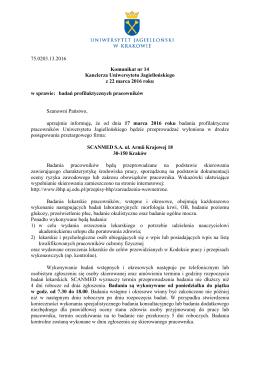 75.0203.13.2016 Komunikat nr 14 Kanclerza Uniwersytetu