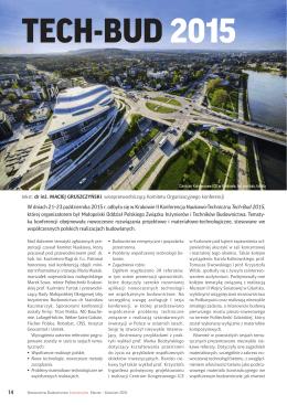 Tech-Bud 2015 - Nowoczesne Budownictwo Inżynieryjne