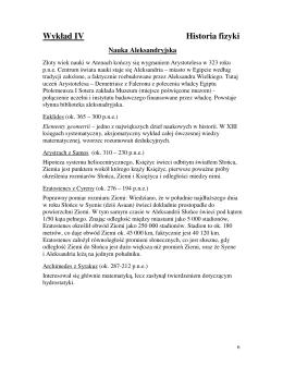 Wykład IV Historia fizyki Nauka Aleksandryjska