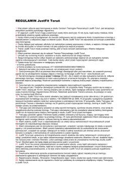 REGULAMIN JustFit Toruń