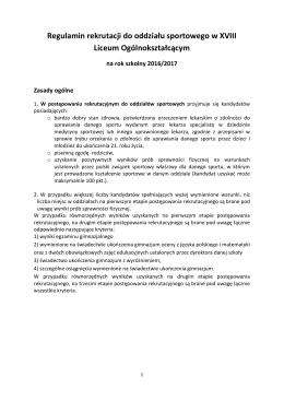Regulamin rekrutacji do klas sportowych w roku szkolnym 2016/2017
