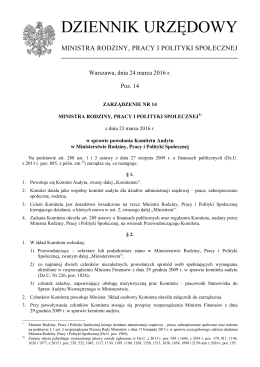 DZIENNIK URZĘDOWY - Ministerstwo Rodziny, Pracy i Polityki