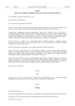 między Unią Europejską a Republiką Peru dotycząca