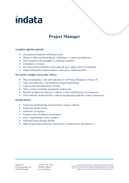 Project Manager - INDATA Software SA