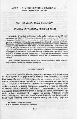 ACTA UNIVERSITATIS LODZIENSIS Piotr Wdowiński