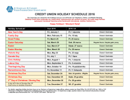 CREDIT UNION HOLIDAY SCHEDULE 2016