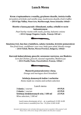 Lunch menu - Food Art Gallery