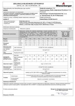 DoP (004-115-SPHW3429) zaklad Honoratka 3