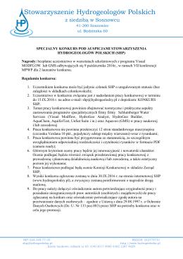 regulamin do pobrania - Stowarzyszenie Hydrogeologów Polskich