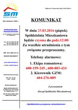 """TREŚĆ KOMUNIKATU (w formacie """""""")"""