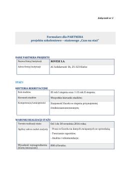"""Formularz dla PARTNERA projektu szkoleniowo – stażowego """"Czas"""