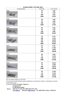 radiatory cennik 2016 50 70 100 1000 3,00 3,40 4,20 29,50 50 70