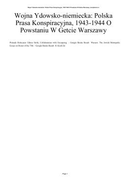 Wojna Ydowsko-niemiecka: Polska Prasa Konspiracyjna, 1943