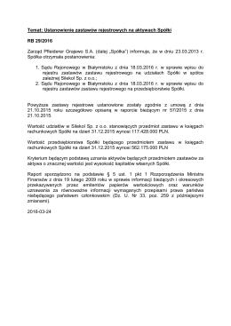 Temat: Ustanowienie zastawów rejestrowych na