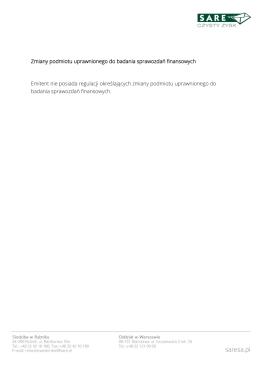 Zmiany podmiotu uprawnionego do badania sprawozdań