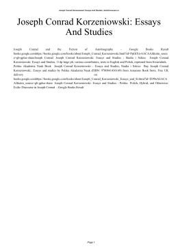 Joseph Conrad Korzeniowski: Essays And Studies
