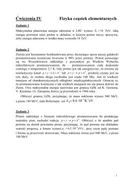Ćwiczenia IV Fizyka cząstek elementarnych