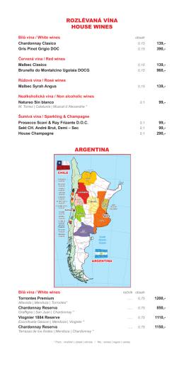 Vinný lístek - La Casa Argentina